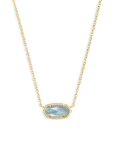 Kendra Scott Elisa Short Pendant Necklace for Women, Dainty Fashion Jewelry, 14K Gold-Plated Brass, Light Blue Illusion