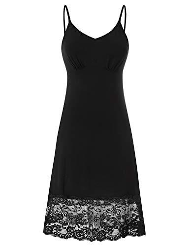 Women's Plus Size Slip Camisole Dress Extender with Lace Trim Black-2...