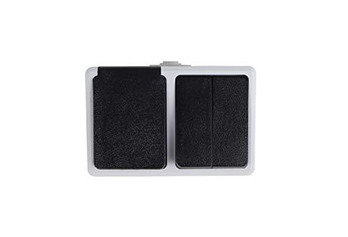 Enchufe a prueba de humedad con 2 tomas Enchufe de montaje en superficies, para 250 V/50 Hz, max. 16 A, IP44. (1 toma+2 interruptores)
