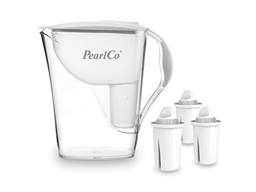 PearlCo - Wasserfilter Fashion (weiß) mit 3 classic Filterkartuschen - passt zu Brita Classic