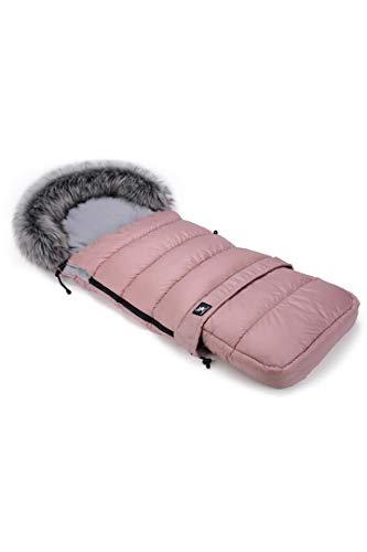 Fußsack Schlafsack Cottonmoose Footmuff Combi mit Fell zum Kinderwagen Sportwagen Autositz 115 x 43c (736 Pink - Gray)