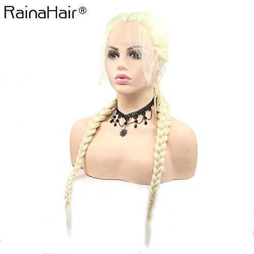 RainaHair Hittebestendige Fiber Pruik 613# Blonde 2x Twist Vlechten Pruik met Baby Haar Synthetische Lijmloze Haar Alle Midden Deel Dubbele Gevlochten Pruiken voor Vrouwen 24 inches
