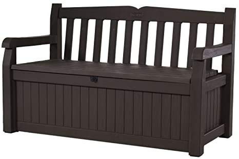 Deck Box Outdoor Plastic 70-Gallon Brown Storage Bench With Free Combination Keypad
