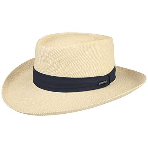 Stetson Sombrero Panamá Licosa Gambler Hombre - Made in Ecuador con Banda de Grosgrain, Grosgrain Primavera/Verano - S (54-55 cm) Natural