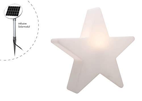8 seasons design | LED Gartenleuchte Solar Stern Shining Star (Ø 80 cm, Dämmerungssensor, Solarmodul, warmweiß, Außenbeleuchtung Weihnachten) weiß
