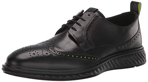 ECCO mens St.1 Hybrid Lite Brogue Oxford Flat, Black, 9-9.5 US