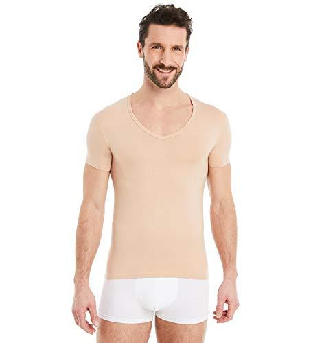 FINN Business Herren Unterhemd Kurzarm mit V-Ausschnitt Micro-Faser Unterziehshirt Männer Unsichtbare Hautfarbe Nude L