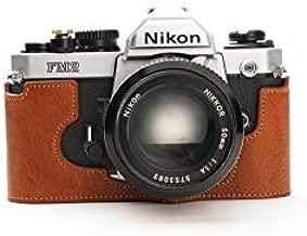 Nikon FM2 Case, BolinUS Handmade Genuine Real Leather Half Camera Case Bag Cover for Nikon FM2 FM FE FM2n FE2 with Hand Strap (LavaBrown)