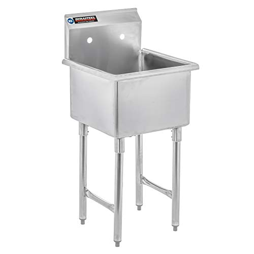 Stainless Steel Prep & Utility Sink - DuraSteel 1 Compartment Commercial Kitchen Sink - NSF Certified - Single 18' x 18' Inner Tub (Restaurant, Kitchen, Laundry, Garage)