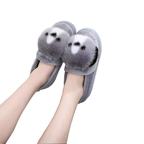 Felpa Zapatillas Peluche De Mujeres - Lindo Perrito Pantuflas - Regalo Zapatos por Casa - Adultos Y Niños Terciopelo, Gray, 38