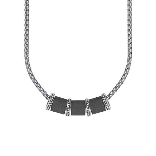 s.Oliver Herren-Kette mit Anhänger 47+3 cm Carbon Beads Edelstahl 50 cm 2015069