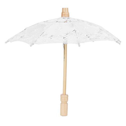 Buachois Paraguas de Encaje Parasol de Encaje Vintage Paraguas de Novia de Boda para Decoración de Banquete de Boda Accesorios para Fotos Accesorio para Disfraz(19.7x17.3In - White)