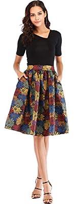 Women's Pleated Floral Print A Line Skirt Flare Midi Knee Length Skater