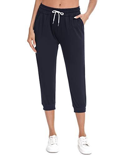 Sykooria Pantaloni Sportivi da Donna, 3 4 Pantaloni Running Donna Estivi Capri Pinocchietto Donna Taglie Forti Blu L