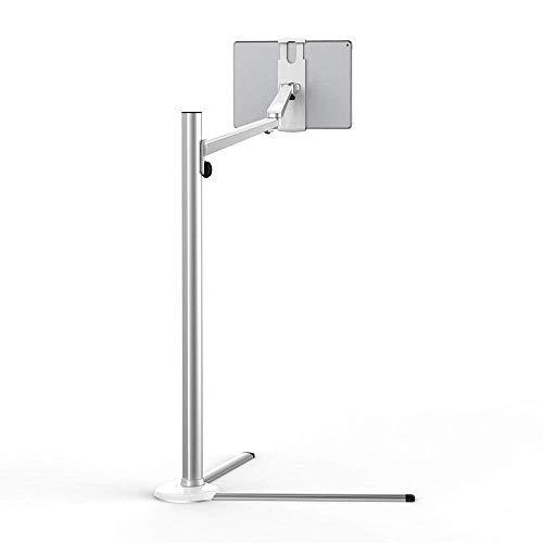 Soporte para Ipad de aleación de aluminio plateado para bicicleta estática, altura ajustable 31-108cm / 12-43in Soporte para tableta Trípode para tableta Ipad 1 2 3 4 5 Air Iphone6 / 6 Plus Samsung