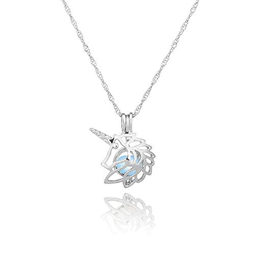 YQMR Collares Luminoso Colgante,Señoras Azul Colgante Luminoso Collar De Plata Ahueca hacia Fuera La Cadena De Clavícula De Unicornio Joyería De Diseño Mujeres Día De Cumpleaños