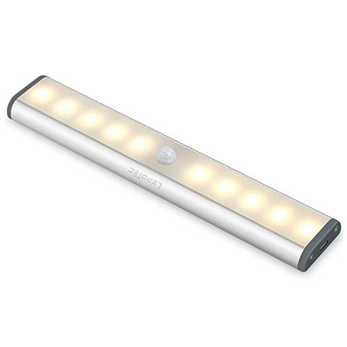 Detector De movimiento, Luz De Armario, Luz Nocturna Recargable Por USB, 10-LED Luz nocturna Para Armario, Iluminación De cocina,Iluminación De armario, Luz Cálida