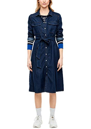 s.Oliver Damen Jeanskleid mit Druckknopfleiste Dark Blue Non Stre 36