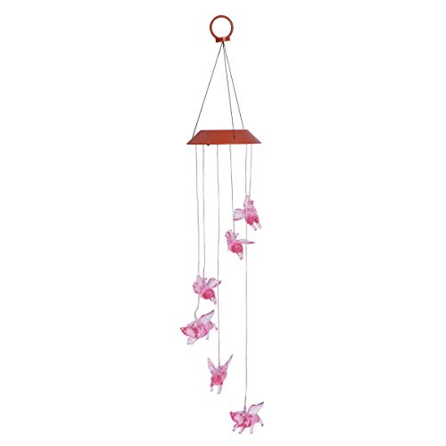 Uonlytech LED Solar Fly Pigs Wind Chime RGB Color Changing Hanging Light Decorative Garden Light for Home Yard Patio Party Hanging Decoration