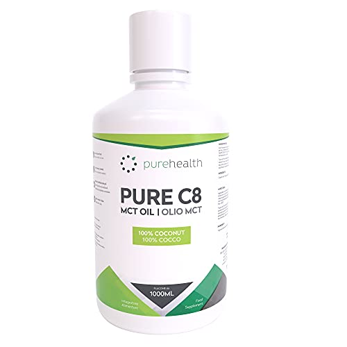 Photo of Pure C8 MCT Oil, Premium 100% Coconut Zero Palm Oil, 1000ML, Perfect for Keto Diets, IF (Fasting) & Bulletproof Coffee, Non-GMO, BPA-Free Bottle