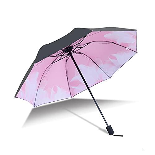 KHAILIUB Sombrilla Tres Paraguas lluviosas Plegables Anti-UV Paraguas Impermeables con Parasol Parasol Azul Cielo Blanco Nubes Impreso Sol Hembra (Farbe : A)