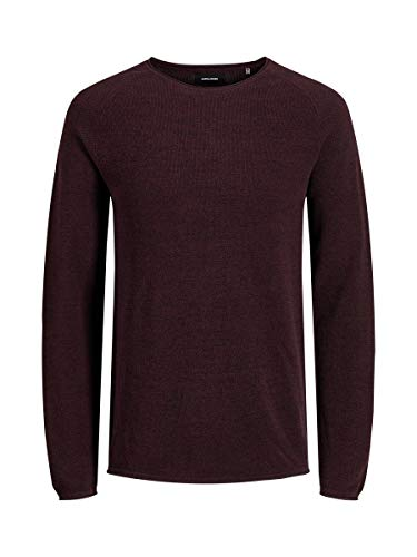 Jack & Jones Jjehill Knit Crew Neck Noos suéter, Rojo (Port Royale Detail: Twisted with Black), Large para Hombre