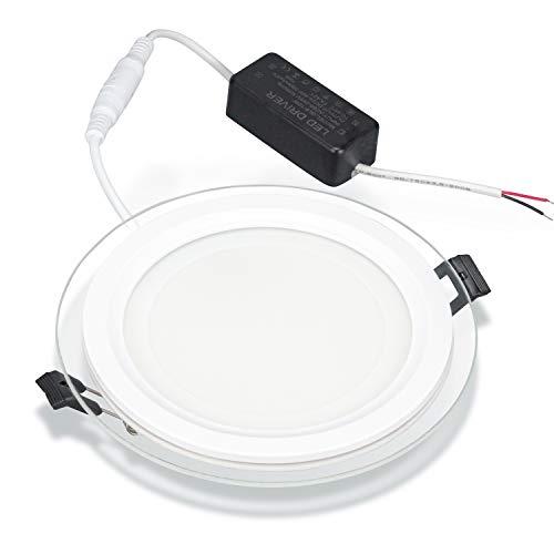 Panel Downlight LED Cristal diseño redondo Moderno 12W 18W luz neutra 4000K luz fria 6000K ahorro 80% energia diseño minimalista IP20 ref-PCL-12B (6000K, 12 Watios)