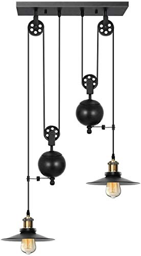 KingSo Pulley Pendant Light 2-Light, Kitchen Island Light...