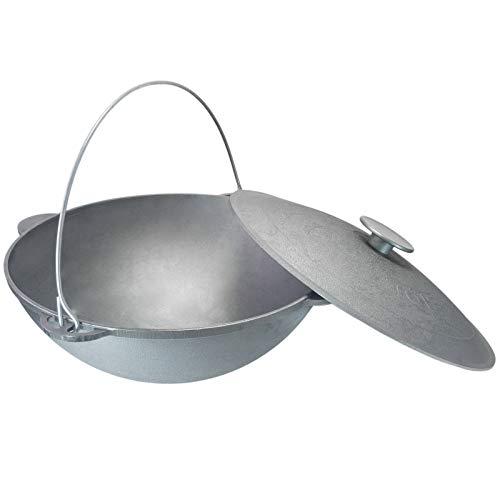 Schwenktopf Kazan 15L Camping Gusseisen mit Bügel und Deckel Bräter Tatarskij Plow BBQ Grillen Kohle Kessel Außenküche Feldküche Zelten Gulasch
