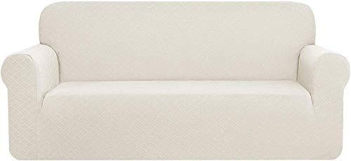 Funda de sofá de rombo con protector de muebles de poliéster jacquard y elastano, elástico universal para sofá (blanco crema, 3 plazas/sofá)