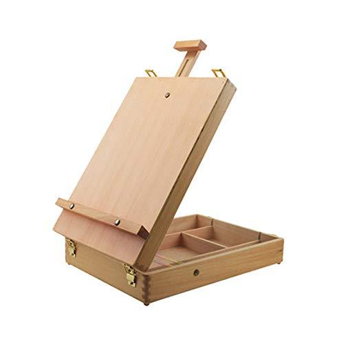 Staffeleien Einstellbare Holz Tisch Sketchbox Staffelei, Buchenholz - tragbare hölzerne Künstler Desktop Storage Case - Store Art Paint, Marker, Skizzenblock - Box zum Zeichnen Tabelle Box Staffelei