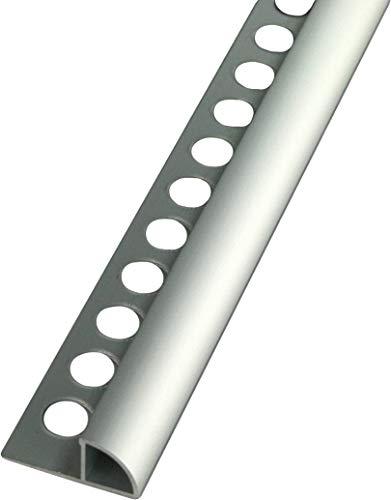 2,5 METER – Höhe: 10mm PREMIUM FUCHS Fliesenschiene Viertelkreisprofil Aluminium Eloxiert silber matt – 1mm Stärke – 250cm Schiene