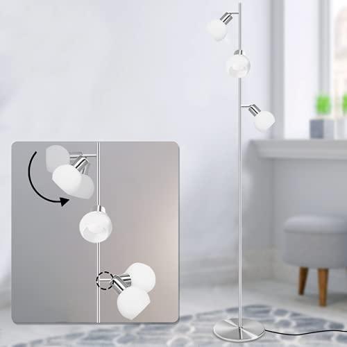 Bojim 3 Light Floor Lamp Modern Design, 3 Way Brushed Standard Lamp with White Glass Shade, Daylight LED Lamps Floor Standing for Living Room, Bed Room (E14 Bulbs Included) 4W 4500k Natural White