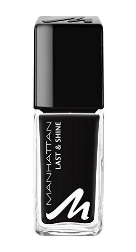 Manhattan Last & Shine Nagellack – Schwarzer, matter Nail Polish für 10 Tage perfekten Halt – Farbe Matte Black 955 – 1 x 10ml