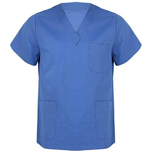 iEFiEL Camice da Lavoro Donna Uomo Manica Corta Divisa Ospedaliera Infermiera Medico Dentista Chirurgo Estetista Casacca da Laboratorio con Tasche Uniformi Sanitarie Blu-Uomo XXL