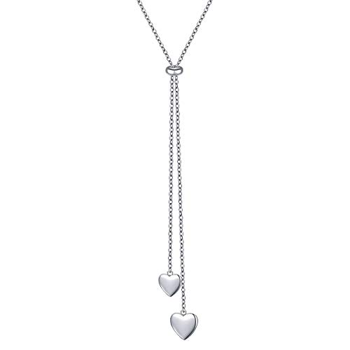 Flyow Long Chain Dainty Lariat Necklace Simple Style 925 Sterling Silver Pendant Adjustable Y Shaped Necklace Jewelry (heart)