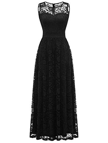 WedTrend Damen Spitzen Lange Brautjungfer Kleid Abendkleid Party Ärmellos Cocktailkleid EWTL10007B-BlackXL