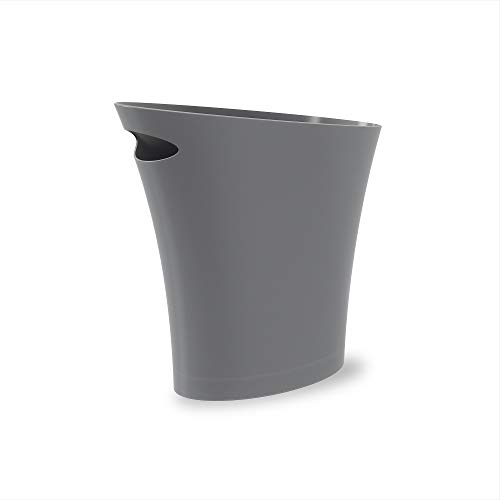 Umbra Skinny Sleek & Stylish Bathroom Trash, Small Garbage Can Wastebasket for Narrow Spaces at Home or Office, Single Pack, Charcoal