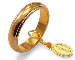 Fede Nuziale Unoaerre Classica da 7 grammi oro giallo 18kt con bordino oro bianco 18kt