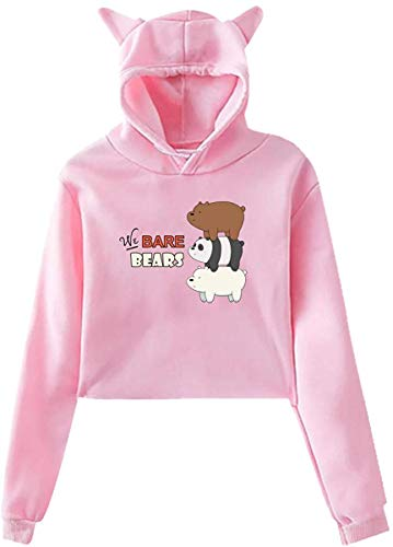 sdfasdfafd Damen Kapuzenpullover Langarm Oberteile Bluse, Women We Bare Bears Navel Exposure with Hood Cat's Ear Long Sleeve Fashion Fleece Black