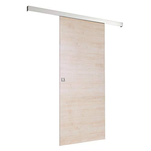 inova Holz-Schiebetür 880 x 2035 mm Ahorn Holz hell Alu Komplett-Set mit Lauf-Schiene und Quadrat-Griff