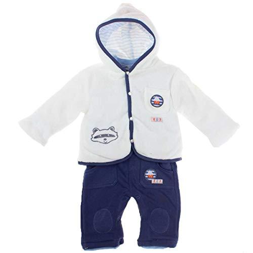 Tom KIDDY Baby Jungen 3tlg. Set Latzhose Hose Shirt Langarm Jacke gefüttert blau weiß (50/56)