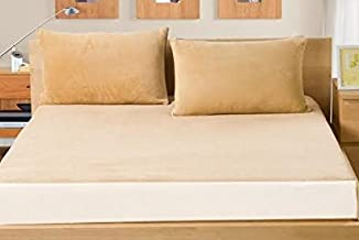 """AVI Waterproof Fitted Terry Cotton 72""""x 78"""" inch Mattress Protector/Cover with 2 Pieces Pillow Protector of 17""""x 27"""" inches, King Size, Beige"""