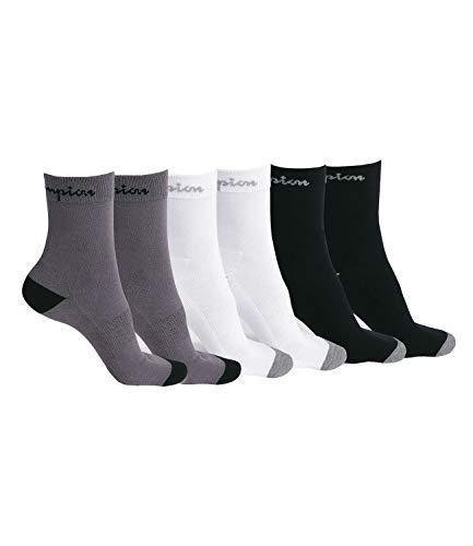 Champion Unisex Socken Crew Socks Performance 6 Paar, Menge:6 Paar, Farbe:Mehrfarbig, Größe:43-46, Artikel:-3013 black/white/grey