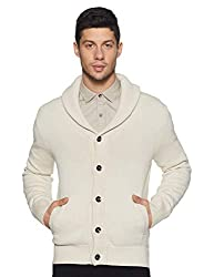 Celio Mens Shawl Neck Slub Cardigan