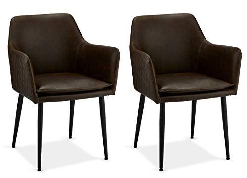 Ibbe Design 2er Set Braun Kunstleder Esszimmerstühle Vintage Industrial Küchenstühle mit Armlehnen Dirk, Schwarz Metallgestell, 57x57x85 cm