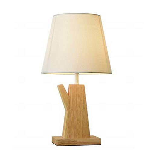 Dightyoho Lámpara Escritorio Lámpara de Noche de Dormitorio de Madera Minimalista Moderna decoración lámpara de Mesa de Tela LED de investigación de la Industria de Madera nórdica 24 * 45 cm