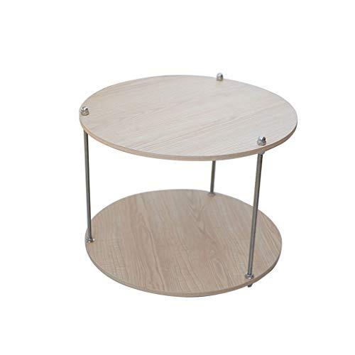 HYAN Doble Log Small Table Cafetería Ronda Simple Sala de Estar Sofá Almacenaje Mesa de Café Pequeña
