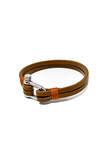 Leder Armband Hellbraun für Herren - Handgefertigt - Hochwertiges Echtes leder - Silberpolierter Edelstahl Verschluss - Klassisch, Elegant und Modern - (Schmuck ideal für ein Geschenk)