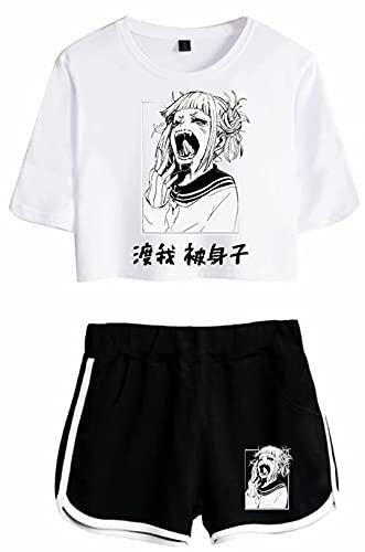 My Hero Academia Anime Himiko Pajama Sets Boku no Hero Manga Activewear Sets Summer Casual Manga Short Sleeve Togai Miko Himiko Crop Crop Set 2 Piece Sportswear Sets Himiko 02 M